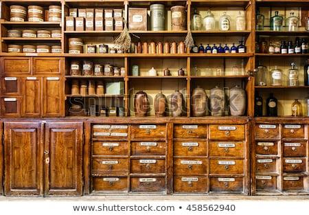 Stockfoto: Oude · apotheek · flessen · houten · plank