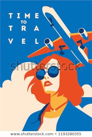 Summer travel girl, vector illustration Stock photo © carodi