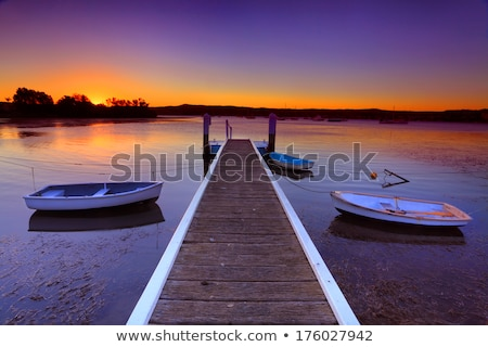 Yachts and boats moored on tranquil waters at sunset Stock photo © lovleah