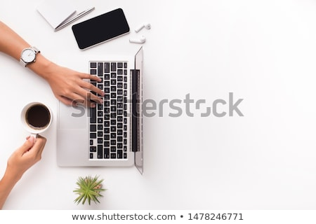 businesswoman with laptop on white background studio Stock photo © ambro