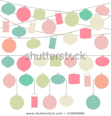Colorful paper lanterns ornamented in festival stock photo © nalinratphi