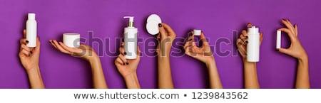 Cuidado de la piel blanco crema loción mujer dedo Foto stock © Yongkiet