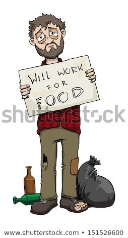 Munka étel hajléktalan férfi kép felirat Stock fotó © cteconsulting