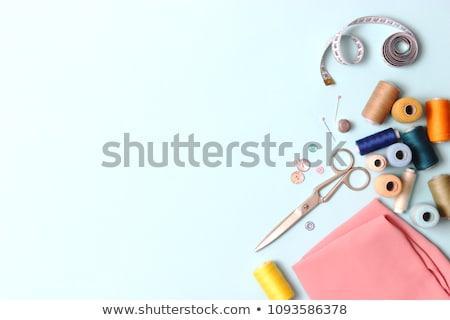 agulha · fio · tradicional · de · costura · pano · de · saco · superfície - foto stock © marimorena