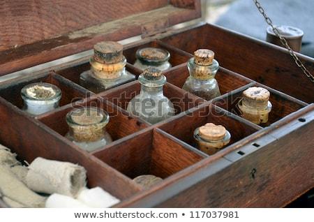 oude · apotheek · flessen · houten · plank - stockfoto © phbcz