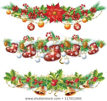 Bells With Ribbon And Mistletoe New Year Greeting Card Congratulations On Christmas Stockfoto © wikki