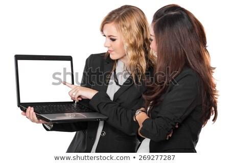 empresária · algo · mão · negócio · anúncio - foto stock © deandrobot