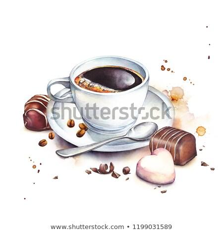 Foto stock: Chocolate · colorido · branco · mesa · de · madeira