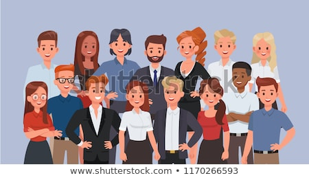 managers cartoon characters at the table set stock photo © voysla