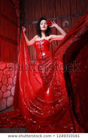 attractive young woman in burlesque corset and skirt stock photo © elisanth