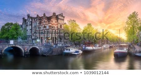 Amsterdam · gece · aziz · kilise · akşam · karanlığı · su - stok fotoğraf © andreykr