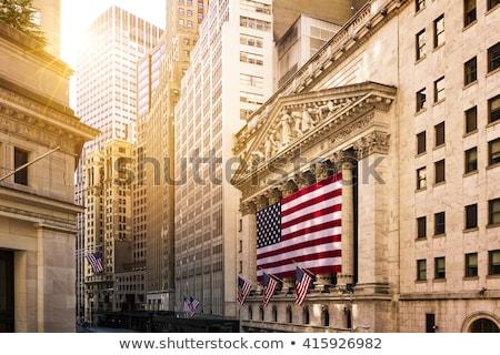 Wall Street New York USA teken amerikaanse vlaggen Stockfoto © kasto