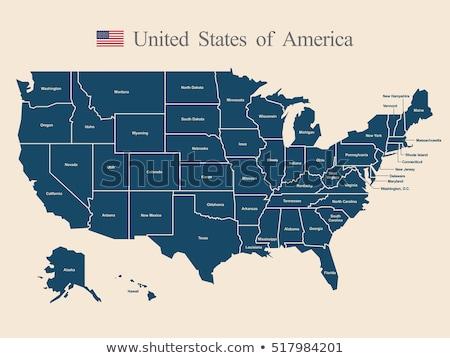 Kuzey Dakota harita mavi ABD görüntü render Stok fotoğraf © tang90246