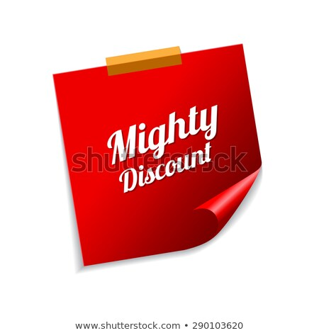 mighty discount red sticky notes vector icon design stock photo © rizwanali3d