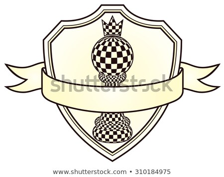 Chess blazon with pawn and crown, vector illustration Stock photo © carodi