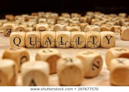 Minőség szó szennyes kampó fehér csoport Stock fotó © fuzzbones0