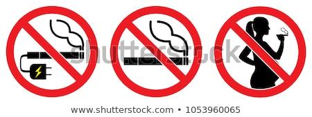 Dohányozni tilos felirat zöld vektor ikon terv Stock fotó © rizwanali3d