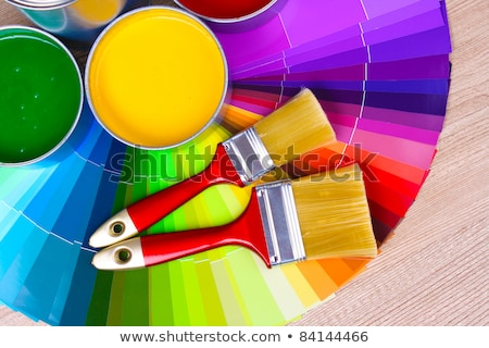 Açmak kalay boya paletine yalıtılmış beyaz Stok fotoğraf © tetkoren