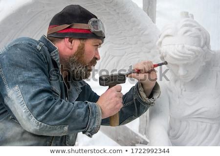 homme · marteau · ciseler · construction · banc · commencer - photo stock © jordanrusev