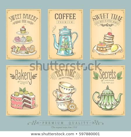karikatür · çay · fincanı · sanat · çay · Retro · fincan - stok fotoğraf © morphart