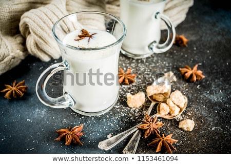 Hot mleka gałka muszkatołowa kubek brown sugar kawy Zdjęcia stock © Digifoodstock