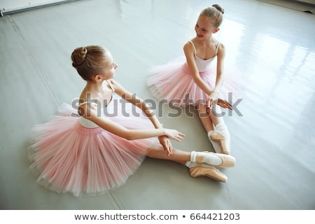 The two classic ballet dancers posing on white wooden floor stock photo © master1305