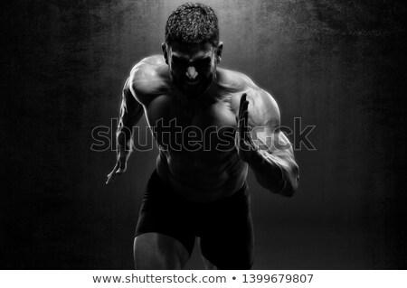 erős · kar · atléta · izolált · fekete · férfi - stock fotó © restyler