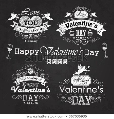 コレクション · バレンタインデー · ヴィンテージ · ラベル · デザイン - ストックフォト © netkov1
