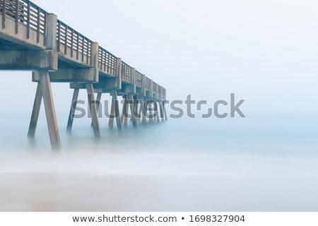 ビーチ · 空っぽ · 砂浜 · 霧 · 緑の草 - ストックフォト © elenaphoto