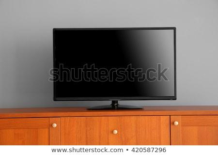 クローズアップ フラットスクリーン テレビ 孤立した 白 コンピュータ ストックフォト © AndreyPopov