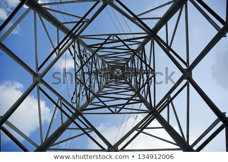 high voltage electricity pylon with wires low wide angle view stock photo © stevanovicigor