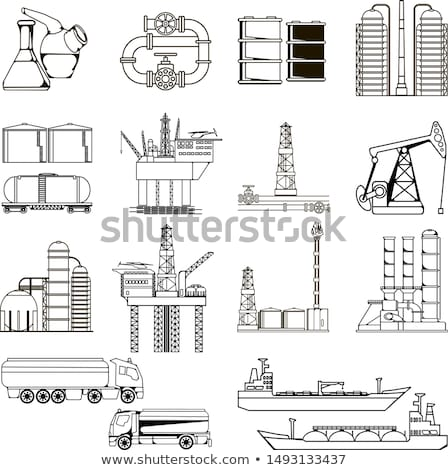 Pump jack oil crane line icon. Stock photo © RAStudio