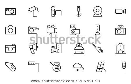 videocamera · lijn · icon · vector · geïsoleerd · witte - stockfoto © rastudio