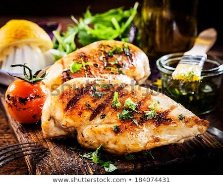 grillcsirke · mell · tányér · hús · barbecue · fehér · háttér - stock fotó © Digifoodstock