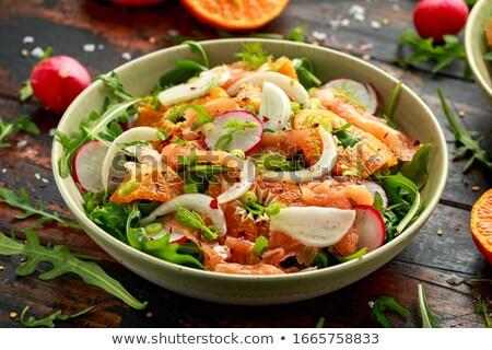 Fumado truta salada verde peças peixe Foto stock © Digifoodstock