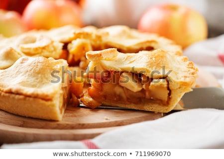 Appeltaart amandelen geserveerd witte plaat vruchten Stockfoto © Klinker