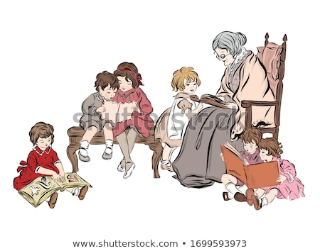 Stockfoto: Grootmoeder · schommelstoel · meisje · illustratie · familie · kind