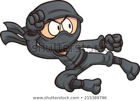 Ninja desenho animado etiqueta adesivo vetor Foto stock © vector1st