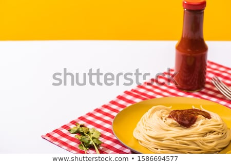 Spaghetti ketchup pasta forcella erbe sfondo bianco Foto d'archivio © Digifoodstock