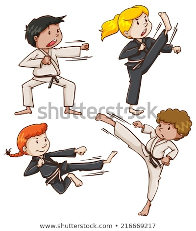 Simple sketch of people engaging in martial arts Stock photo © bluering