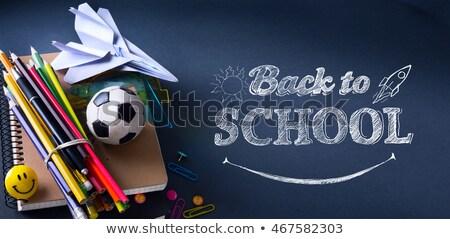 Művészet üdvözlet vissza az iskolába szalag tanszerek boldog Stock fotó © Konstanttin