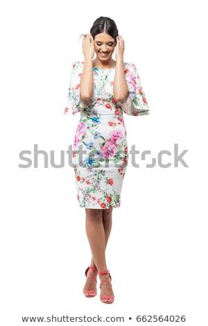 romantyczny · kobieta · zielone · sukienka · biały - zdjęcia stock © elnur