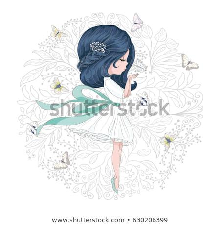 karty · kwiaty · dziewczyna · wektora · różowy · sexy · girl - zdjęcia stock © leedsn
