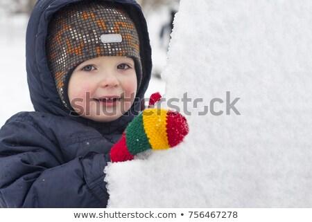 Fiú visel ujjatlan kesztyűk sál tart karácsonyfa Stock fotó © feverpitch
