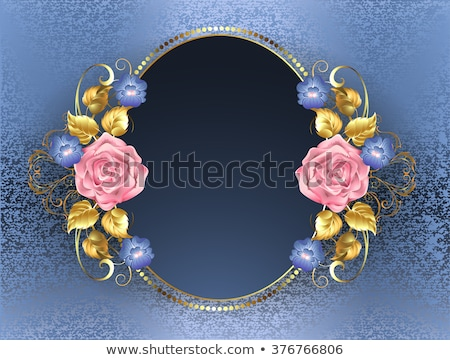 овальный баннер розовый роз золото листьев Сток-фото © blackmoon979