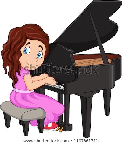 funny girl cartoon playing piano Stock photo © jawa123