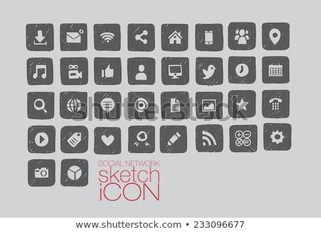 dibujado · a · mano · red · social · negro · casa · ojo - foto stock © cosveta
