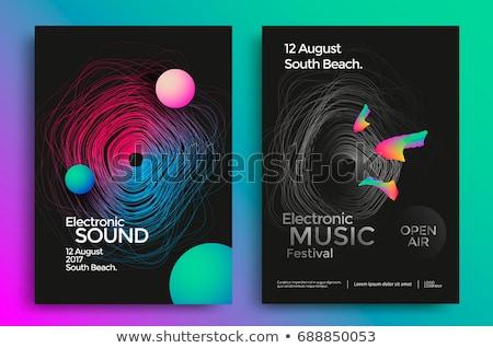 Eletrônico música festa cartaz modelo arco-íris Foto stock © sahua