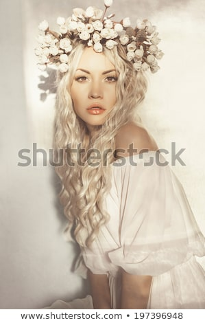 fashion spring summer blond woman with perfect skin Stock photo © zdenkam
