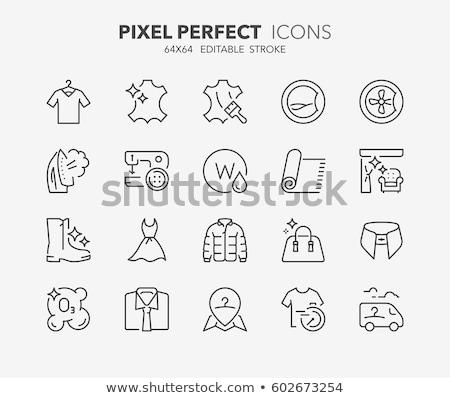Dry cleaning, laundry line icons. Launderette service equipment, washing machine, clothing shoe and  stock photo © Nadiinko
